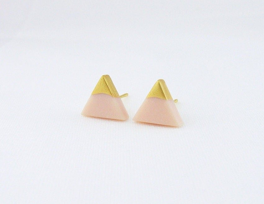 Pale Peach - Gold Dipped Triangle Stud Earrings