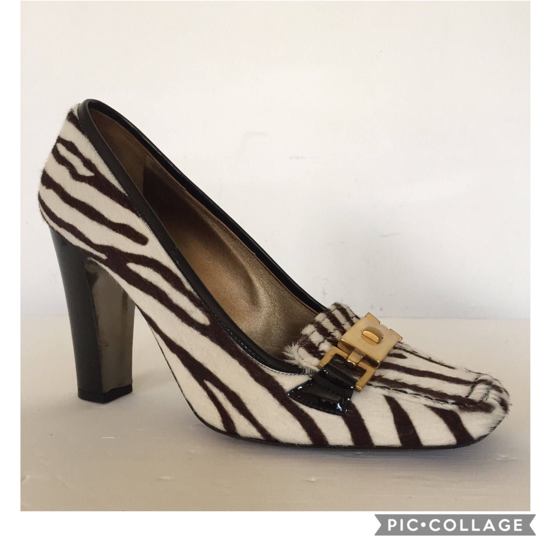 Vintage 90s Zebra Print Pony Skin Loafer High Heels Clueless Work Office Formal Shoes Animal Mod GoGo Scooter 1950s 50s 1960s 60s 80s 1990s