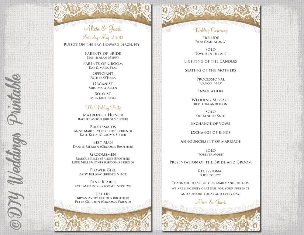 Rustic Wedding program template Burlap & by ...