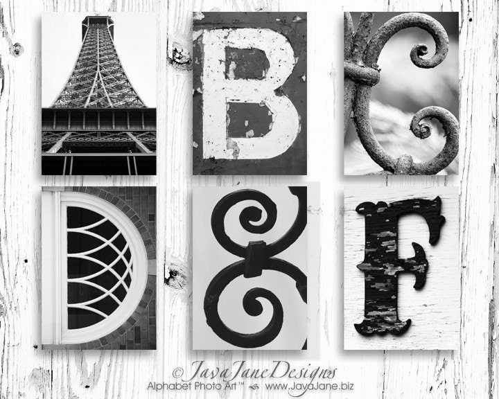 5x7 Alphabet Letter Print - Choose Your Own - Black and White Photo - JavaJaneDesigns