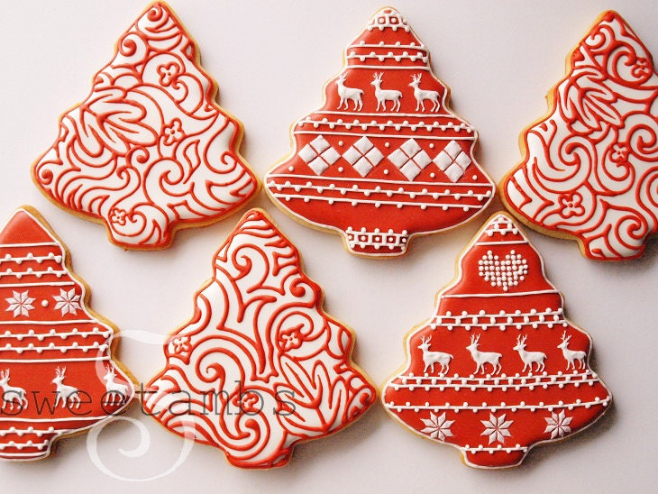 Red and White Christmas Tree Cookies - Set of 6 Orange Vanilla Spice Cookies