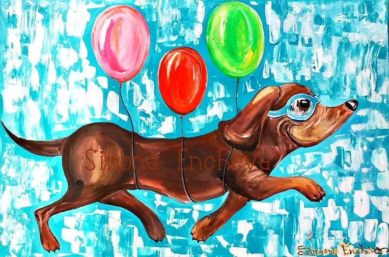 Flying Dachshund. Flying dog with colorful baloons. Acrilyc painting. Original painting- not a print! - ColorfulSimone