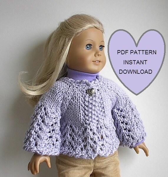 American Girl Doll Cardigan Knitting Pattern : PDF KNITTING PATTERN for 18 American Girl Doll by Lavenderlore