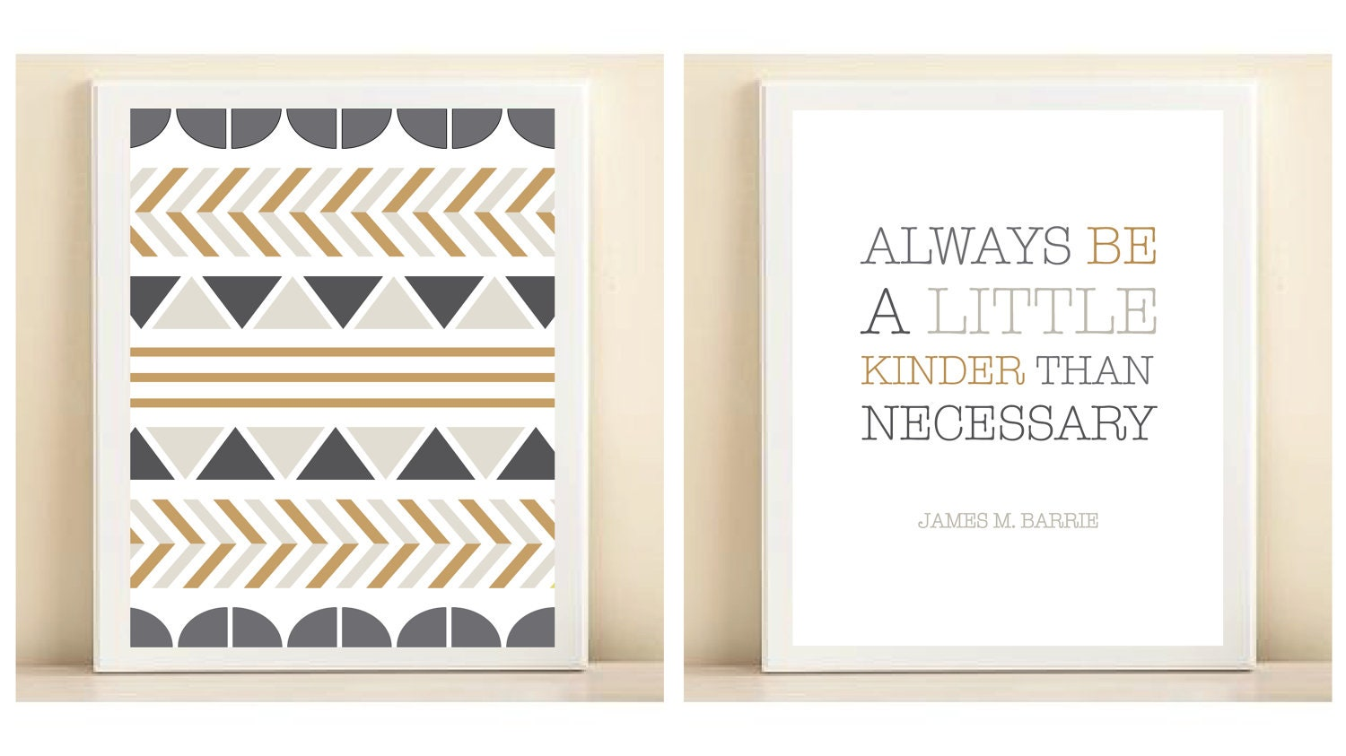 Charcoal, Grey, and Gold 'Tribal' and 'Be a Little Kinder' print poster pairing - AmandaCatherineDes