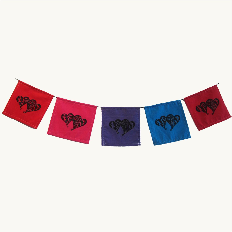 Karmabee Hearts Prayer Flag - karmabee