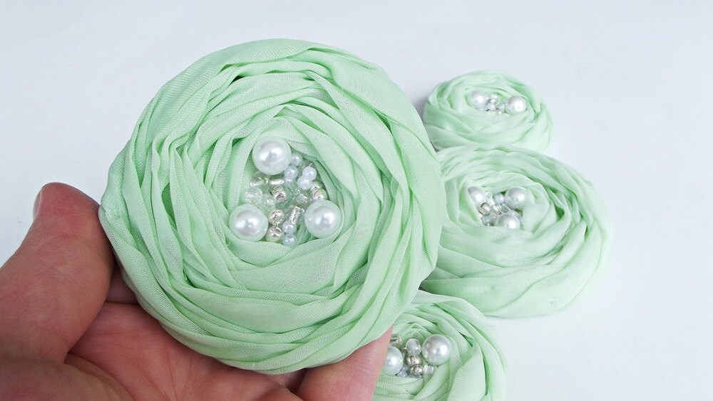 Mint Green Roses Handmade Appliques Embellishment 5 pcs - BizimSupplies
