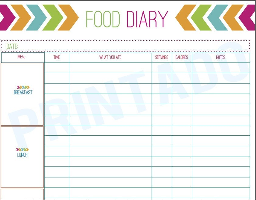 Food Diary Template] Food Diary Template Printable Food Journal, 5 ...