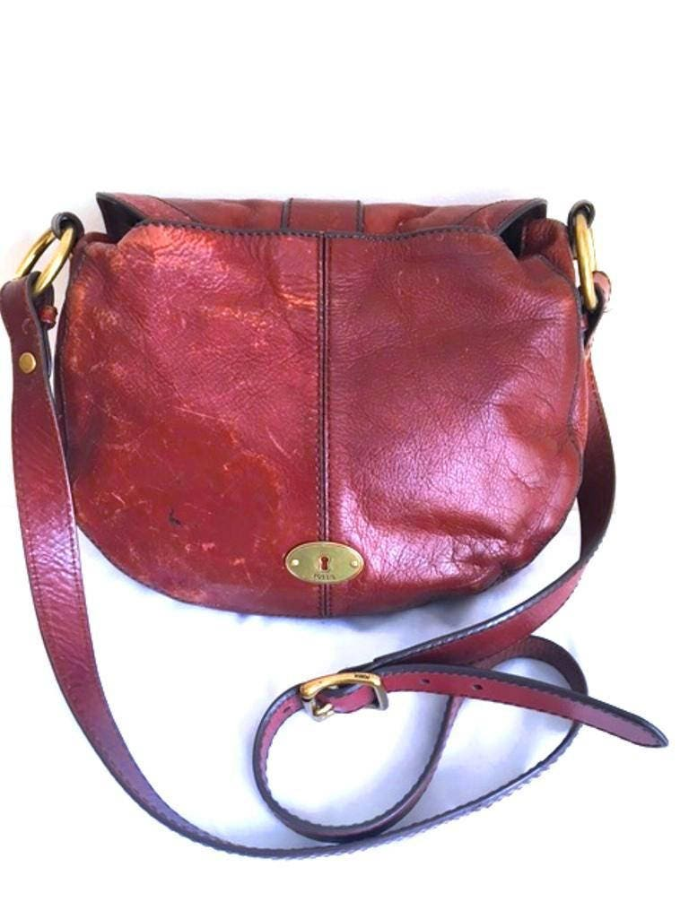 3 Days Final Sale  FOSSIL Rich Luxury Brown Leather Saddle Bag  Not to be Missed