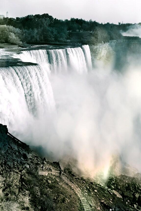 Waterfall photograph. Niagara Falls. Rainbow hue. Atmospheric. Home decor. 8x12- Chasing Waterfalls. - MyCameraAndEye