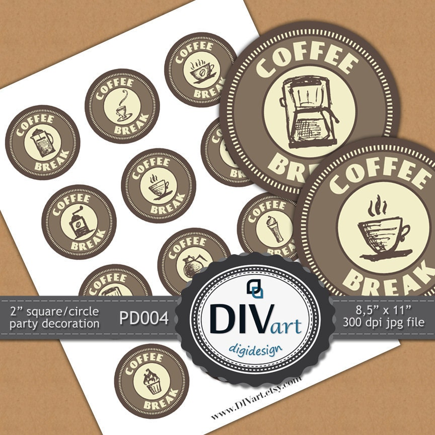 """PRINTABLE Party Decoration - PD004 - 2"""" squares/circles - Coffee Break - party picks, cupcake toppers, decoration, gift tags, stickers..."""