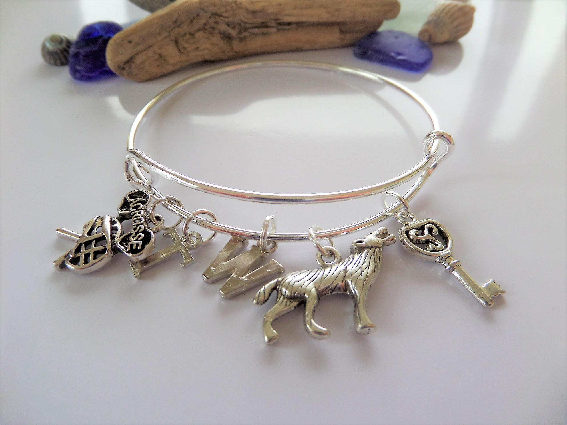 Teen Wolf inspired silver tone charm expandable bangle fan gift styles mccall lacrosse jewellery Uk