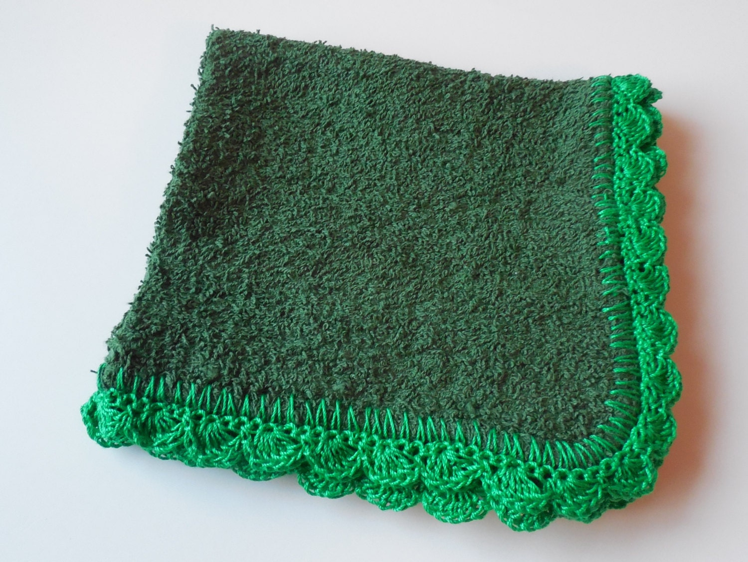 Dish Wash Cloths - Green - With Crochet Edging - ShelleysCrochetOle