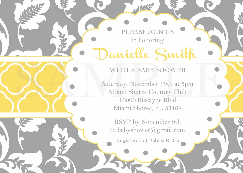 grey yellow invitation baby bridal shower by shoptopitoffdesigns