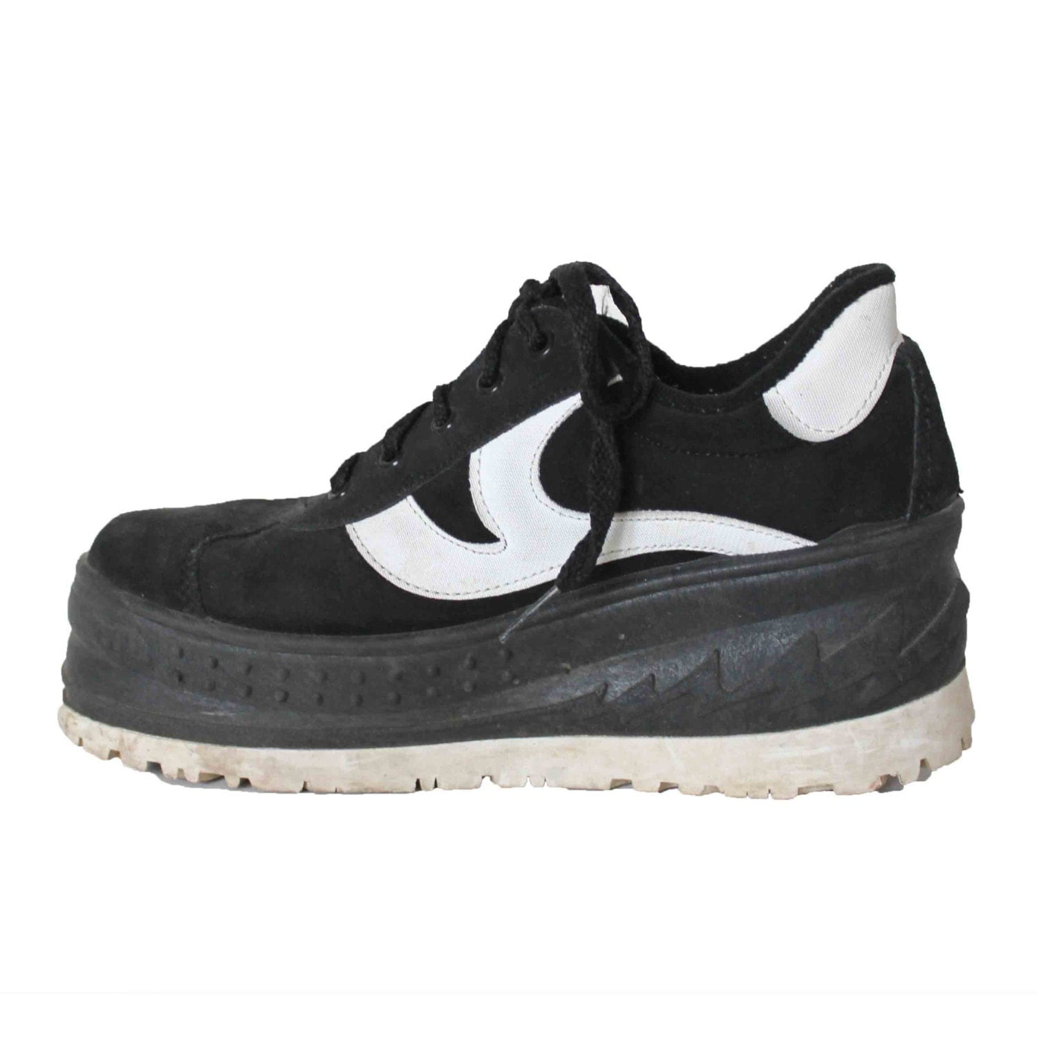 90s black white platform sneakers shoes tennis by