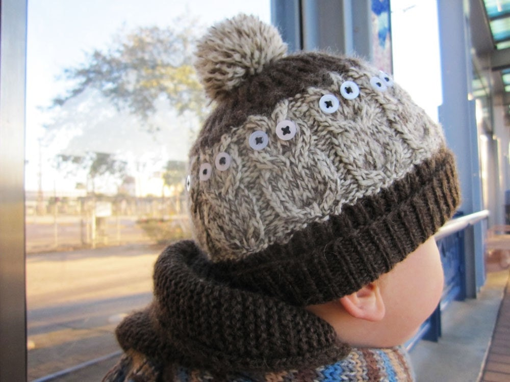 Hand Knit winter Wool Owly Hat 2 year old boy by DupletMagazines