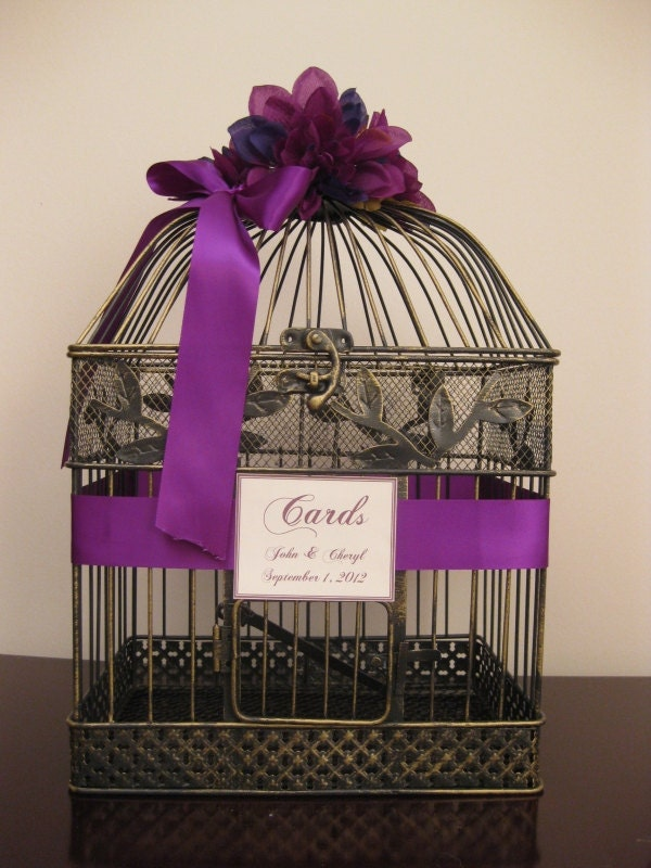 ... Wedding Card Box Holder / Purple / Vintage Style / Bird Cage Card