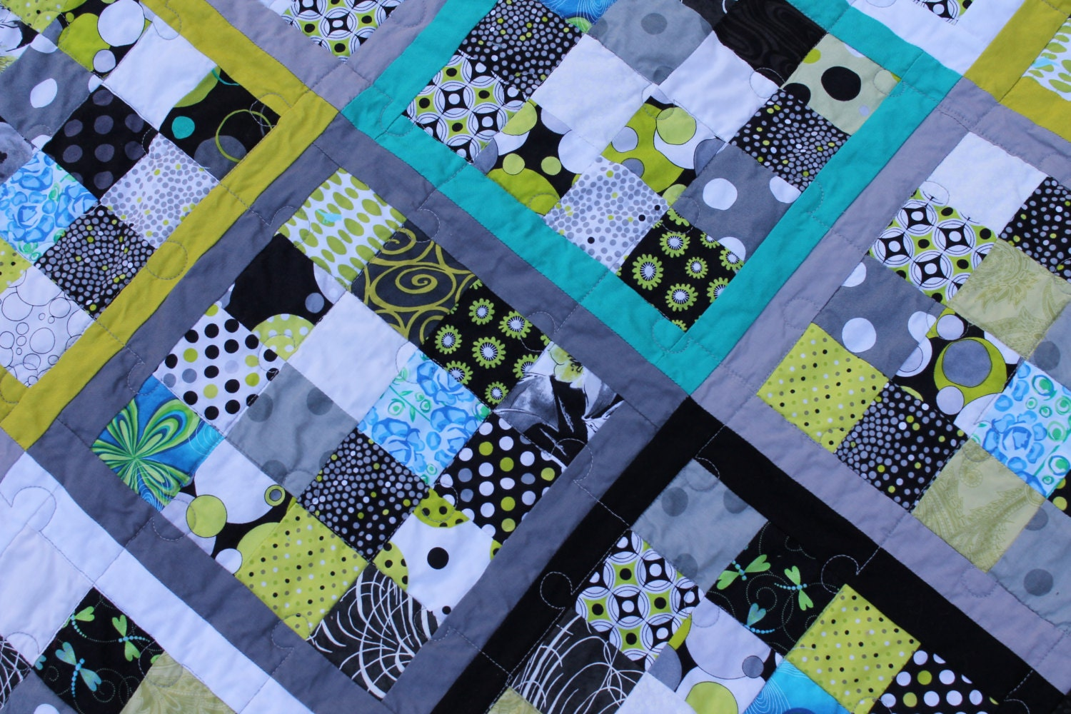 Fun Scrap Lap Quilt in Lime Turquoise Black Gray White Handmade