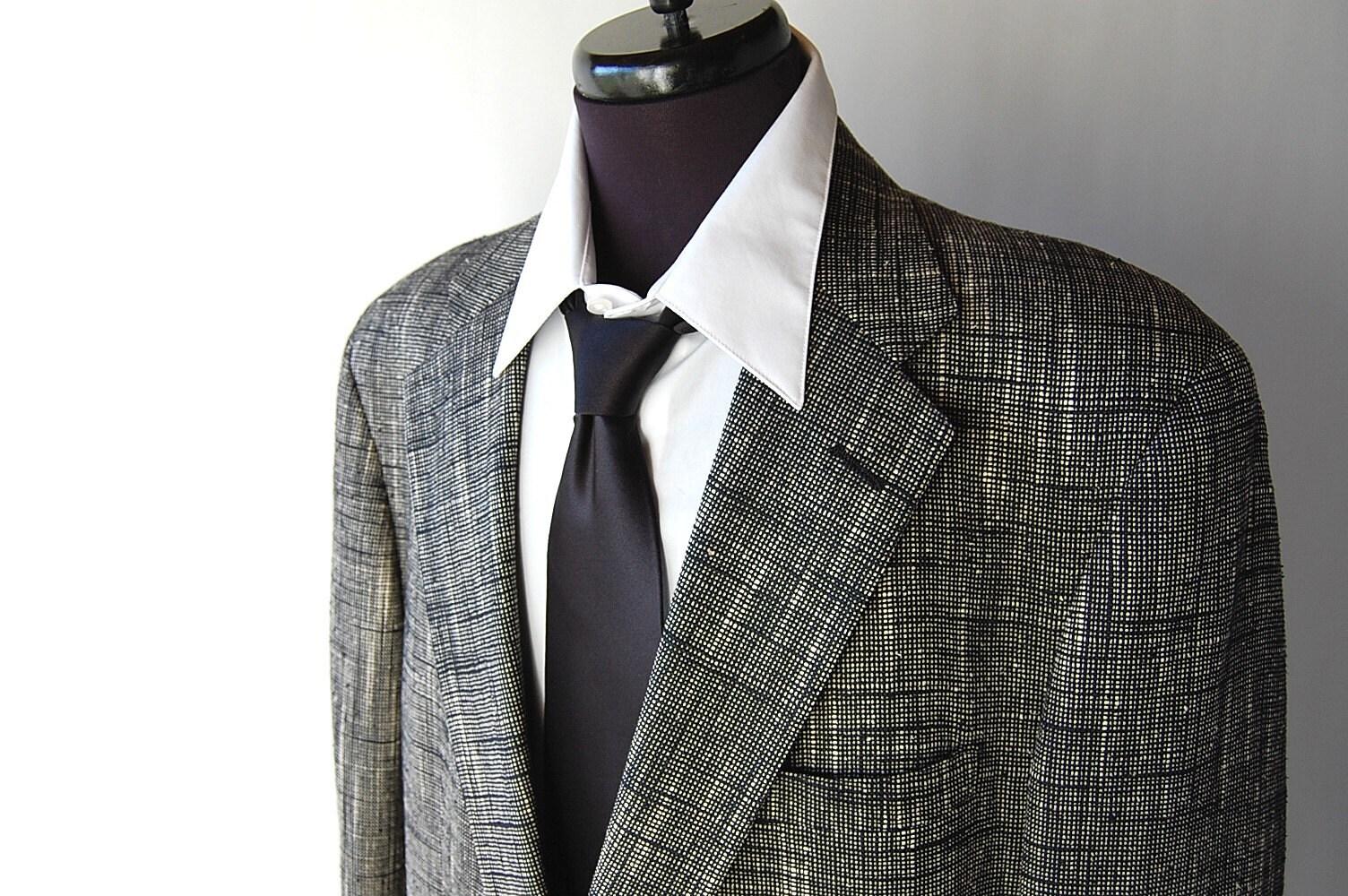 80s Vintage Mens Woven Silk Sport Coat Black By