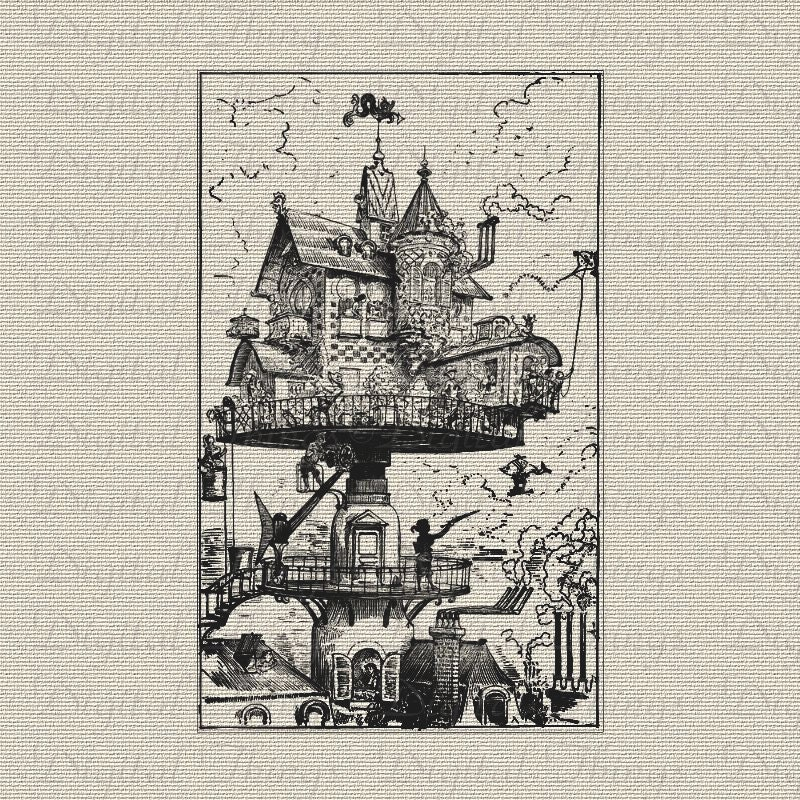 Victorian Steampunk Art French Elevated House Revolves Airship Digital Download for Iron on Transfer Fabric Pillows Tea Towel DT166 - DigitalThings
