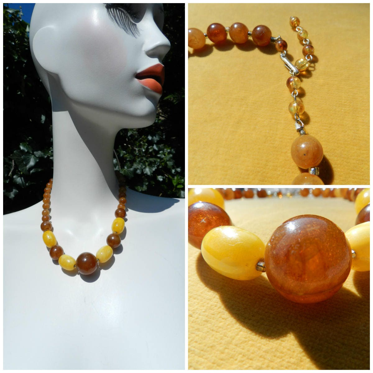50s 60s adjustable graduated plastic choker necklace amber  golden yellow chunky bead necklace hippie jewellery