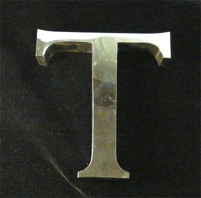 Extra Cool Vintage Chrome Sign Letter T Shiny By