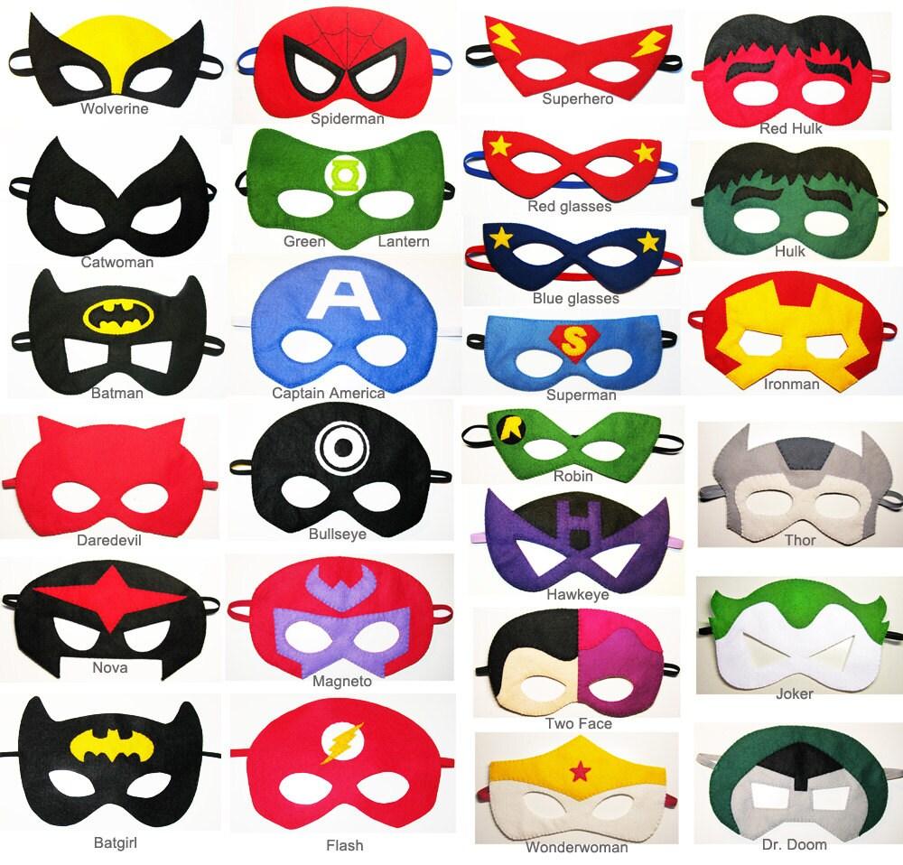 Felt Superhero Masks Party Pack You Choose Styles Dress