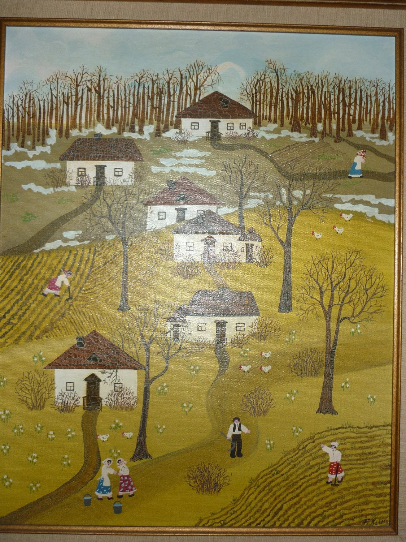 Primitive Folk Art Oil Painting Landscape Farm By Mamabstrunk