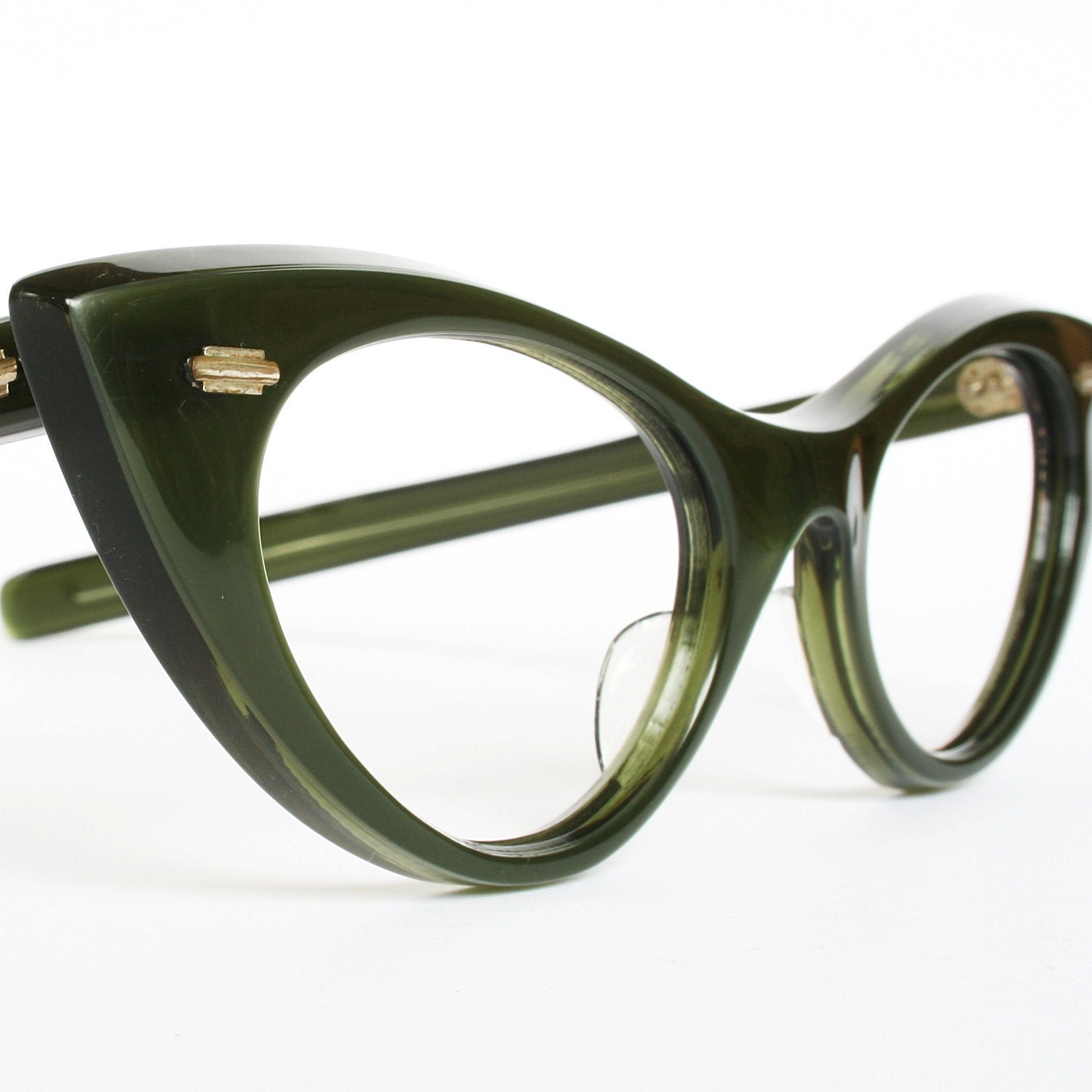 Satiny Green Vintage Cat Eye Glasses by VintageCatEyeGlasses
