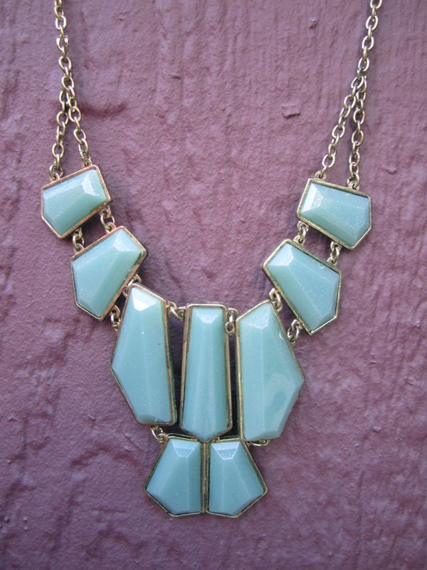 SALE Mint and Gold Statement Necklace - MelangeShopLove