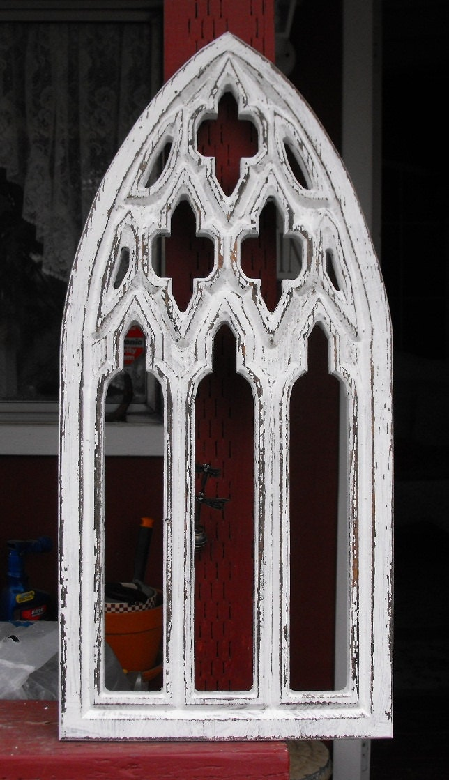 Window frame distressed white gothic arched by for Arch window decoration