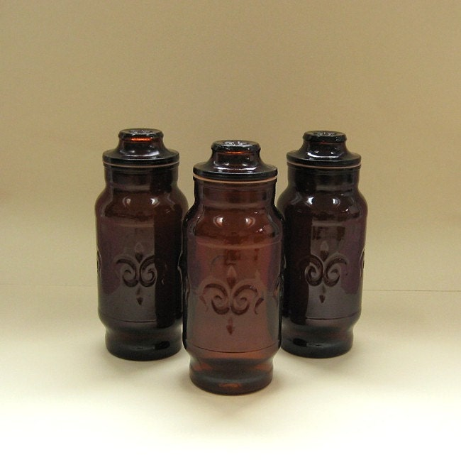 Canister Trio Vintage Brown Glass Storage Jars By Uncommoneye