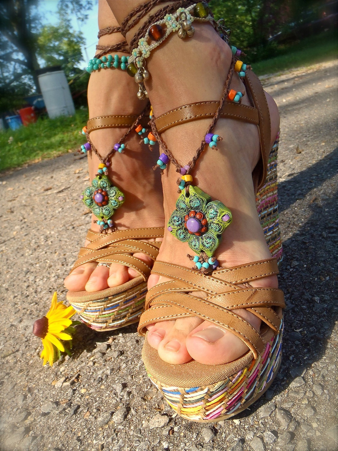 green barefoot sandals summer crochet sandals beaded by gpyoga