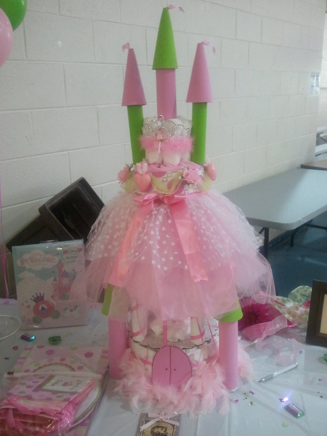 princess castle pink and green baby shower or birthday diaper cake