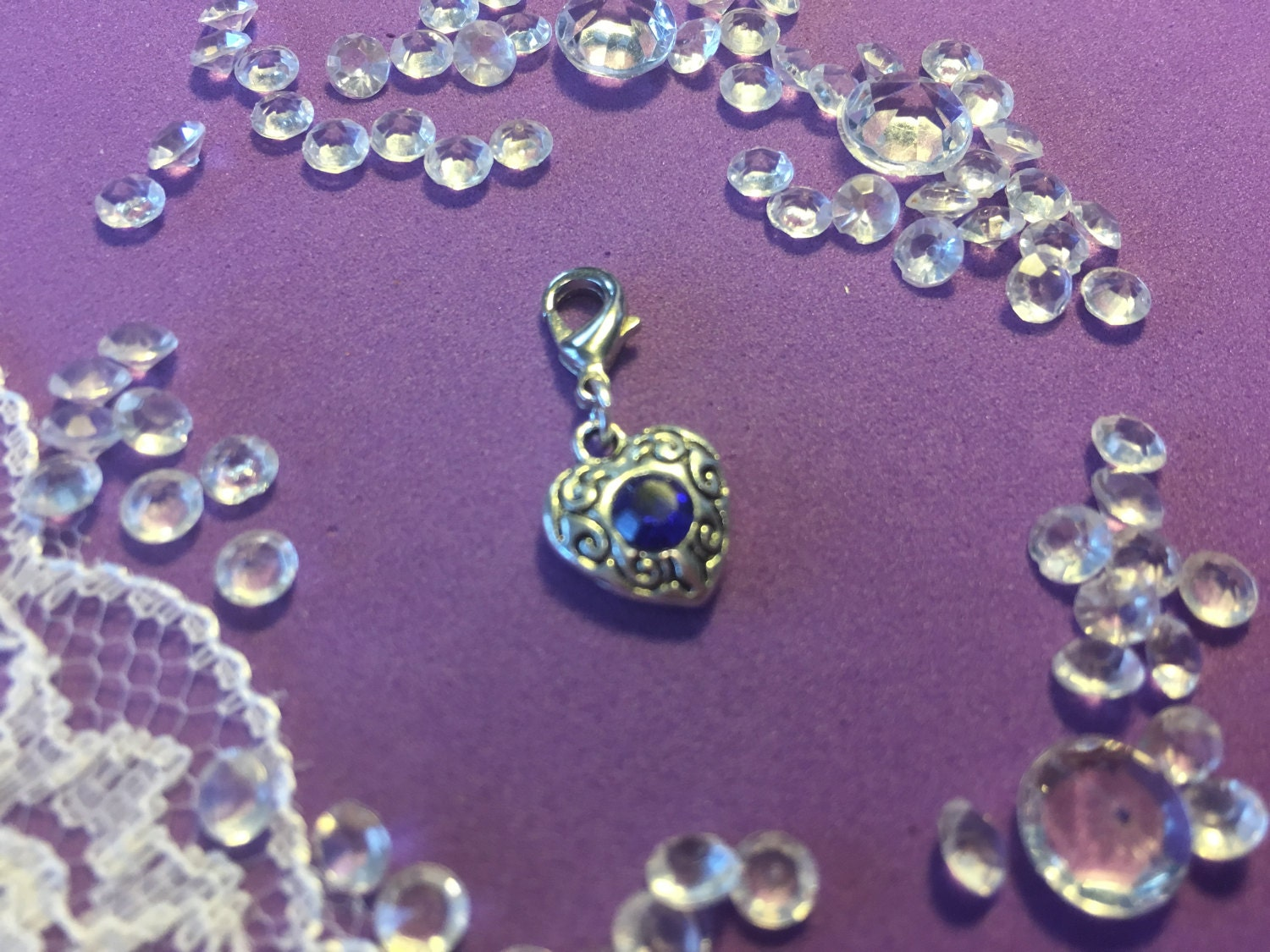 Something Blue Crystal Heart Clip on Vintage Style Blue Heart Charm Brides Good Luck Charm