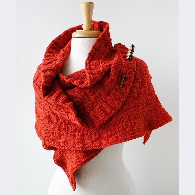 Rococo Hand Knit Shawl - Luxurious Wrap in Merino Wool, Alpaca, Silk - Women's Fashion - Terra Cotta Red - ElenaRosenberg