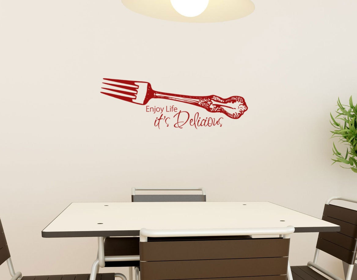 Kitchen wall decal enjoy life its delicious with by for Kitchen colors with white cabinets with funny wall art quotes