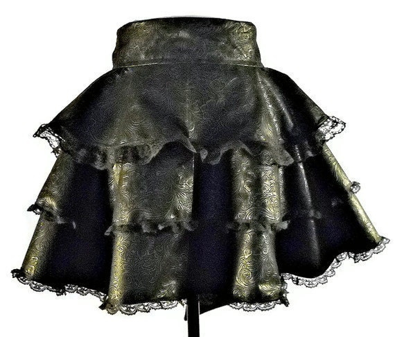 Faux Tooled Black Leather and Lace Pinup Rockabilly Renaissance Circular half  Apron - Costume  -  Birthday - AnniversaryTAGT - AbeesArtStudio