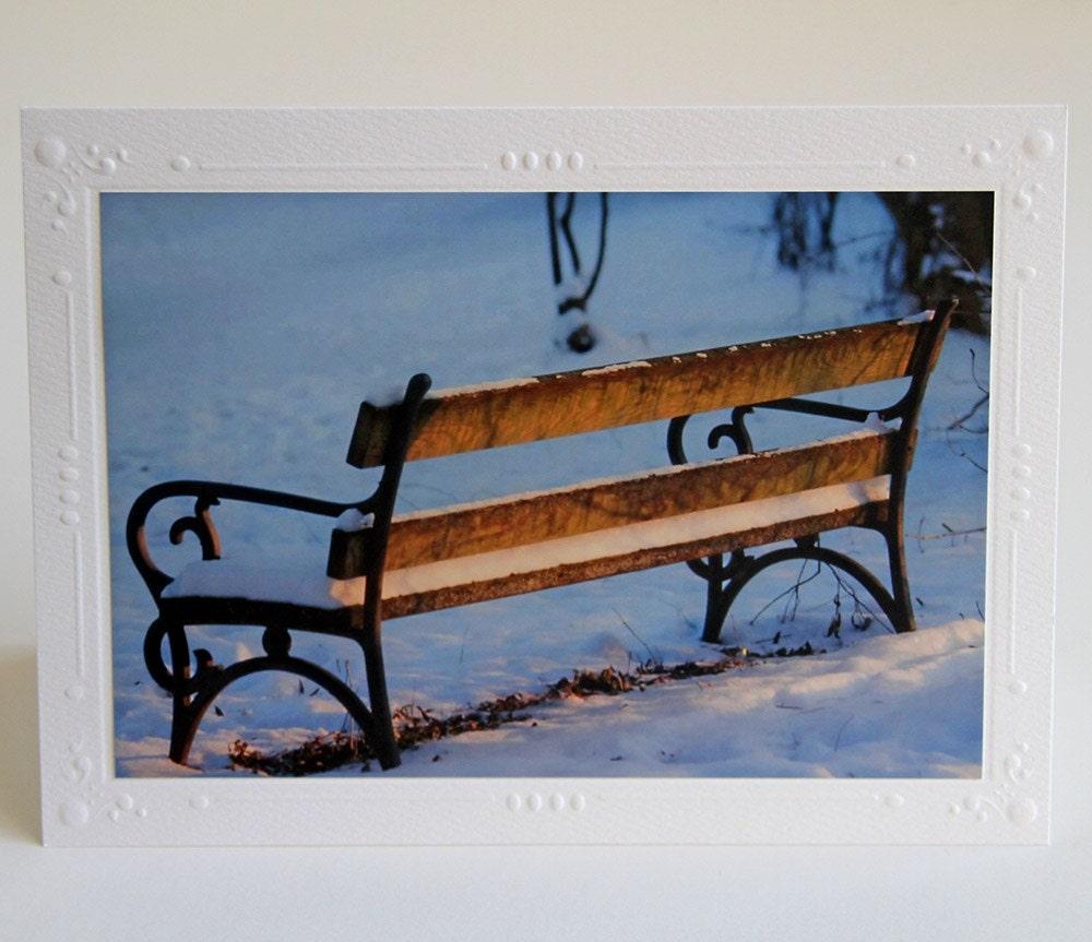 Snowy Bench Photo Greeting Card, Blank Notecard - CarolaBartz