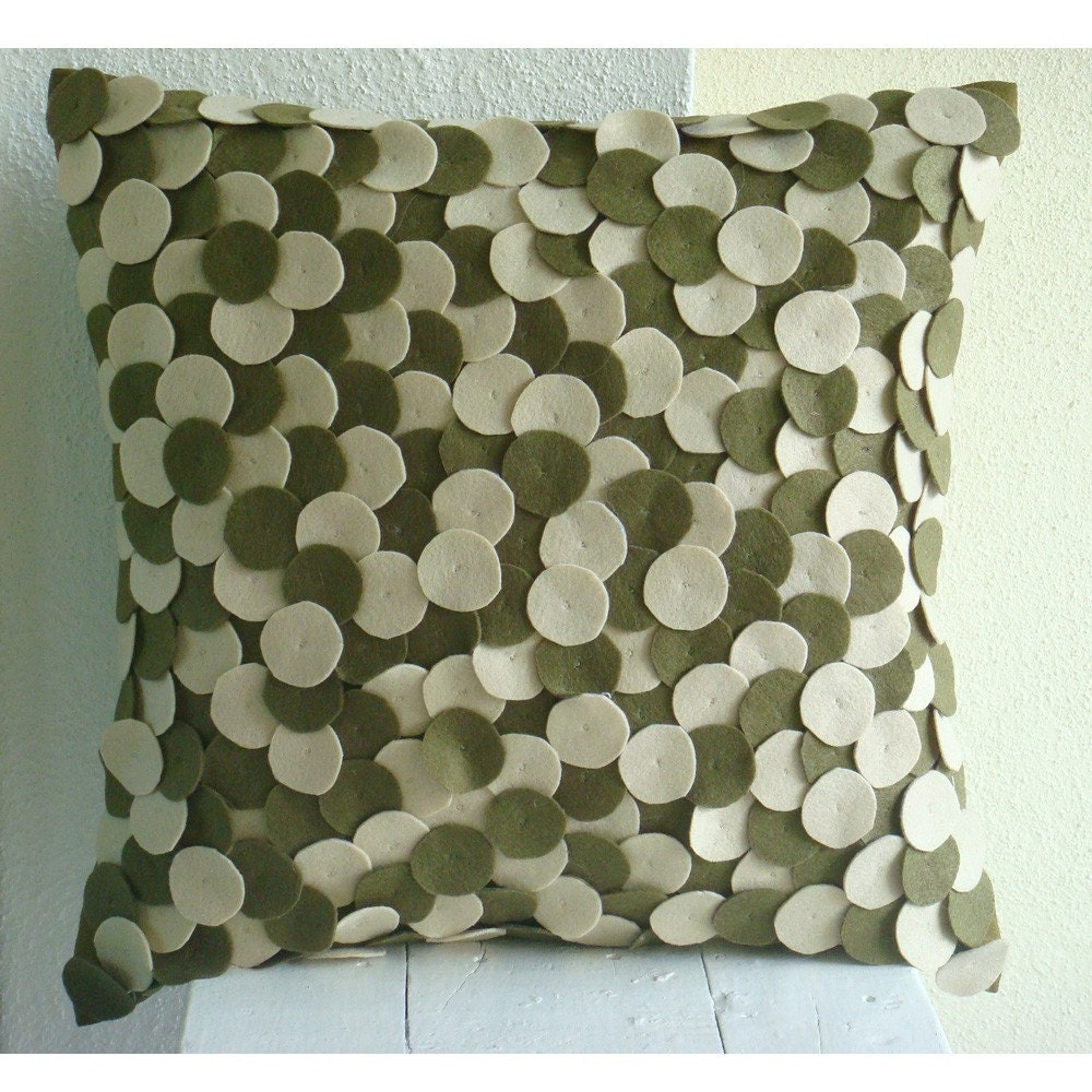Decorative Throw Pillow Covers 16x16 Inch Olive Green Felt Appliqued Couch Sofa Toss Bed Accent ...