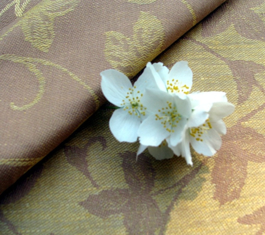 DAMASK Linen / Cotton Fabric Golden Yellow/ Light by AMInaturals