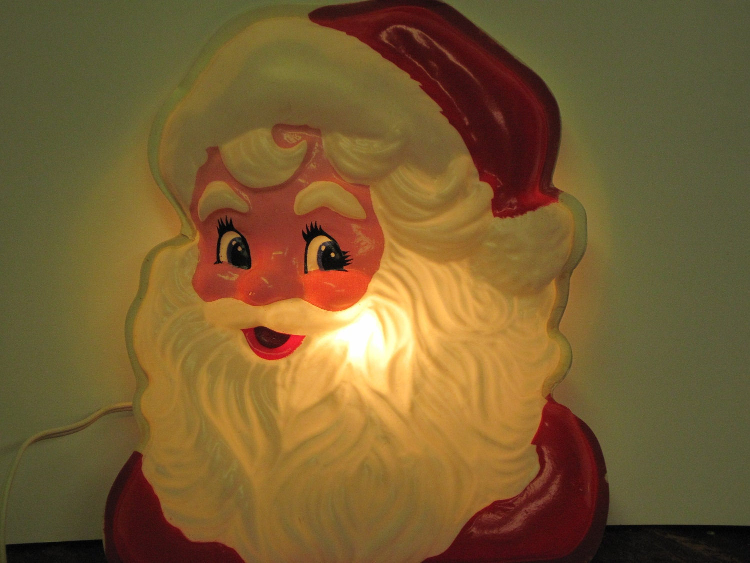 Vintage 1950s Light Up Santa Face In Very Good By