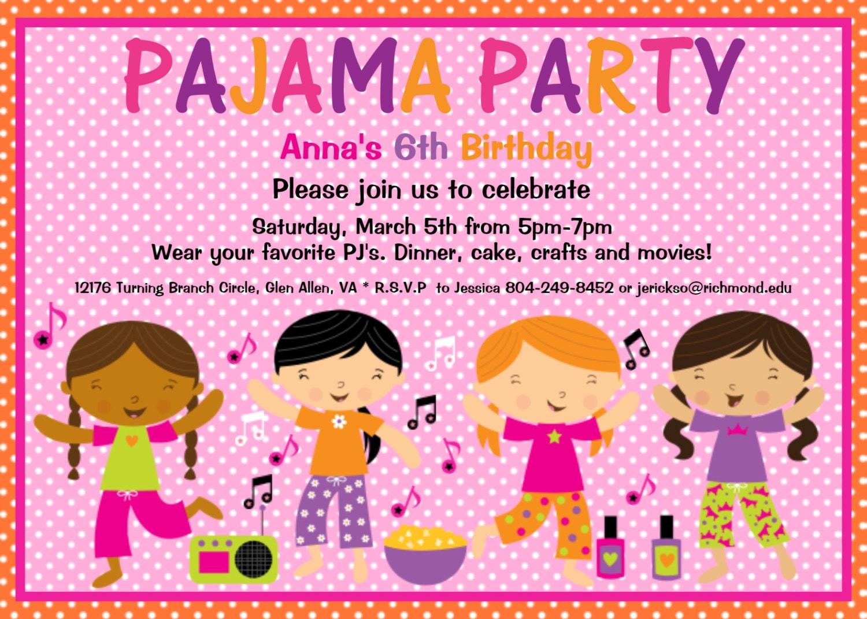 Pajama Party Invitations Free Printable is good invitations template