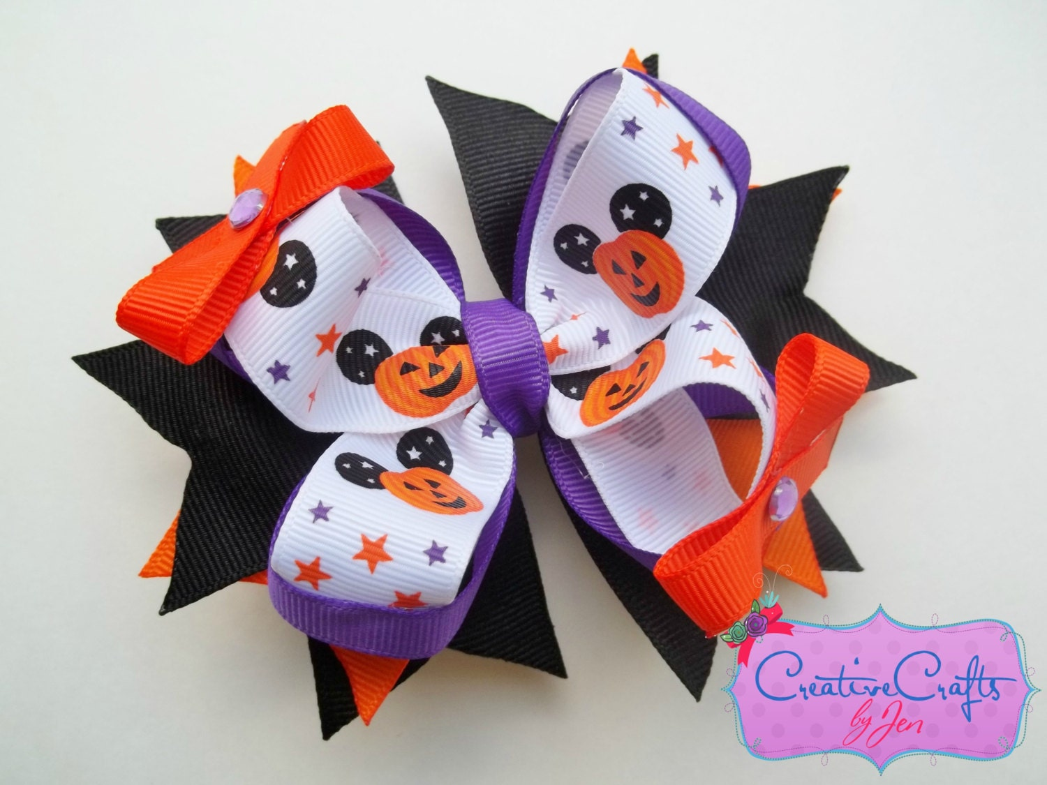 Pumpkin Mickey Halloween Stacked Boutique Bow - Alligator Clip, Orange, Black, Purple, Mini Bow, Rhinestone, Ribbon, Holiday, Costume - CreativeCraftsByJen
