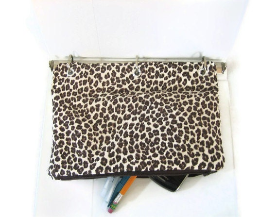 Leopard Organizer Case for 3 Ring Binder  - Brown, Black & Cream  - Back to School -  Ready to Ship - malibuquilts