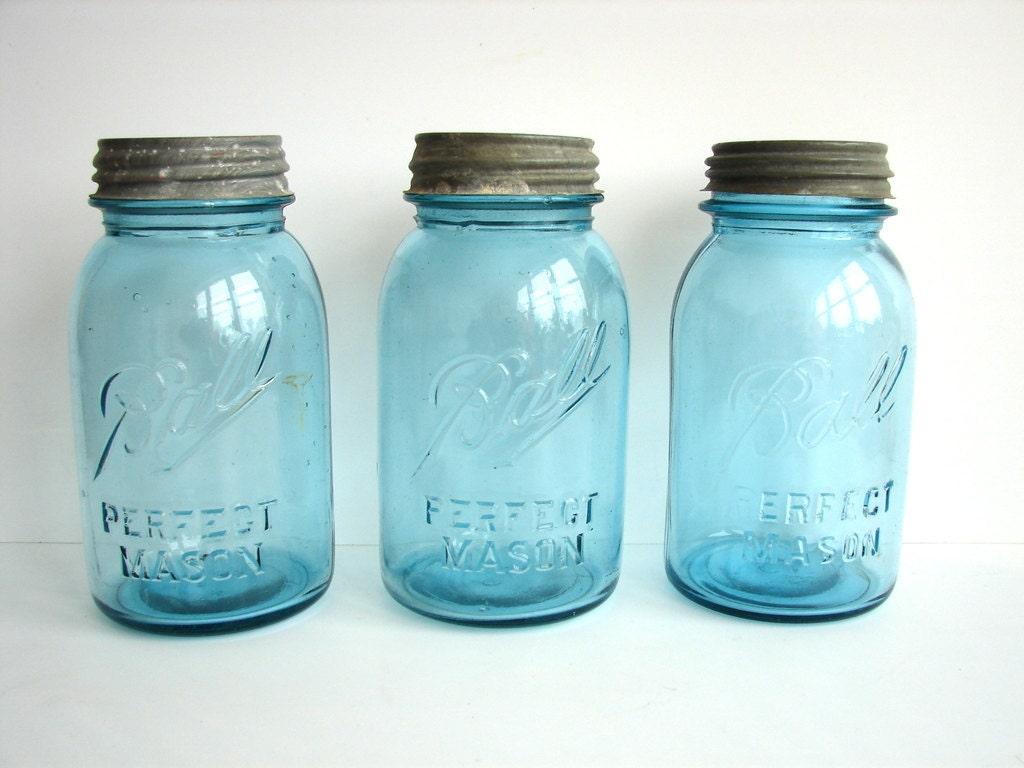 vintage antique aqua blue ball perfect mason jars by. Black Bedroom Furniture Sets. Home Design Ideas