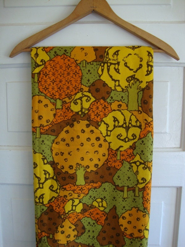 Vintage 60s Tangerine Olive Green Tree Fabric Mustard Yellow Puffy Forest Print Mid Century Mod Woodland Linen Upholstery Home Decor CBF - CuteBrightFun