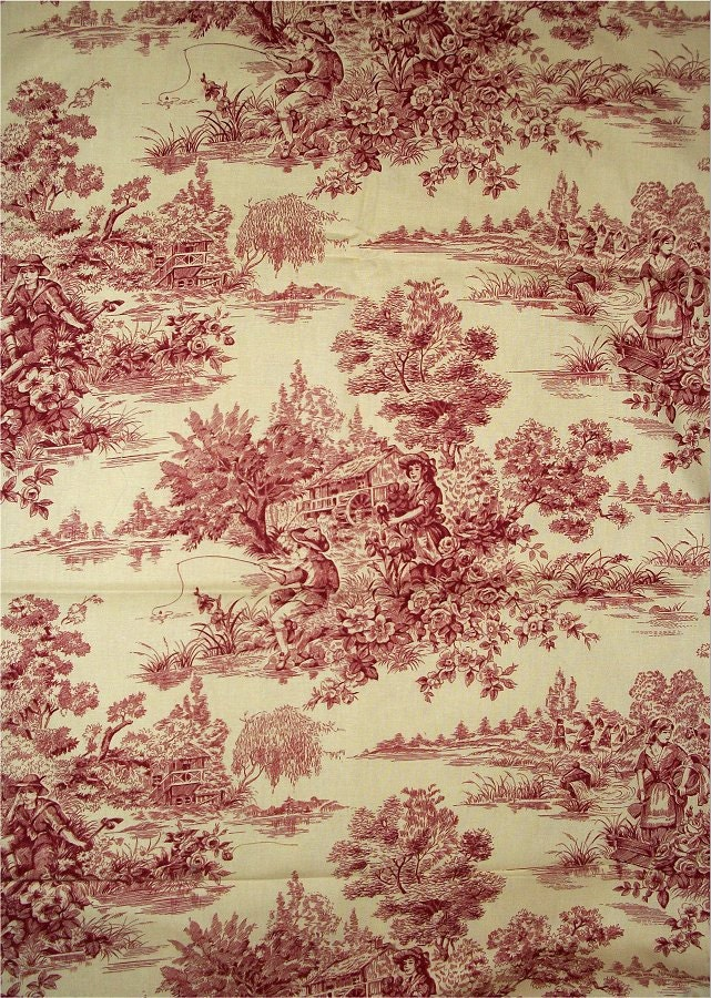 Items similar to french cottage waverly toile fabric l h for Toile shabby chic