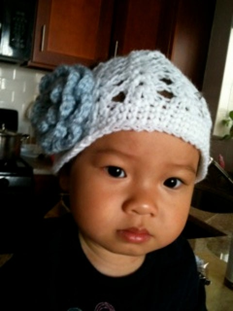 Summer Shell Stitch Crochet Hat with Light Blue Flower - Infant Toddler Child sizes