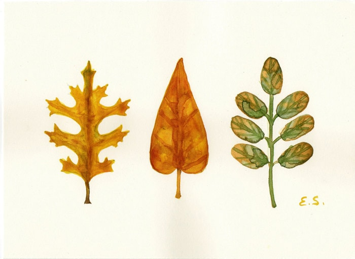 Autumn leaves - Hand painted art card Original watercolor painting Autumn decor yellow ochre green red - bluepalette