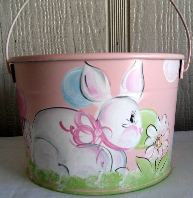 Personalized Easter Basket Bucket Hand Painted By